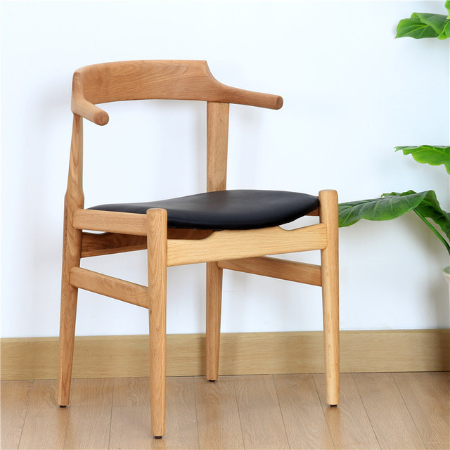 Ch68 wild oak white oak solid wood dining chair chair lounge chair ...