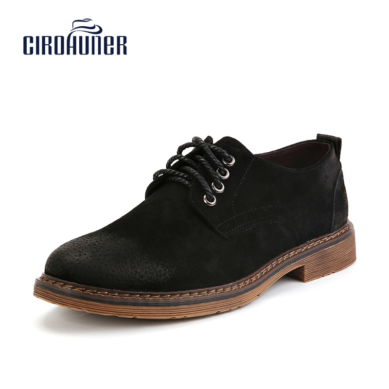 CIROHUNER Men Genuine Leather Shoes Suede Oxford Fashion Casual Breathable Men's Flats Comfortable Men Flats Dress Shoes dxkzmcm men casual shoes lace up cow leather men flats shoes breathable dress oxford shoes for men chaussure homme