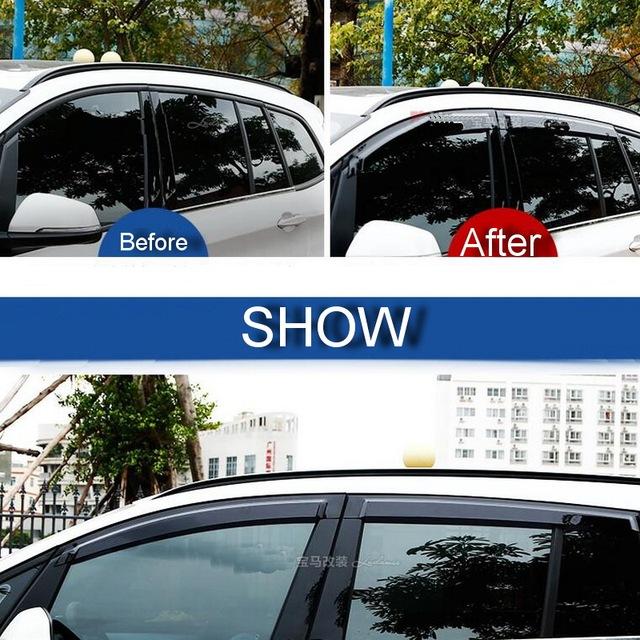 4 UNIDS Car styling DIY Nueva PC modificación dedicada lluvia escudo cubierta de la etiqueta engomada para bmw 2 series 218i partes accesorios