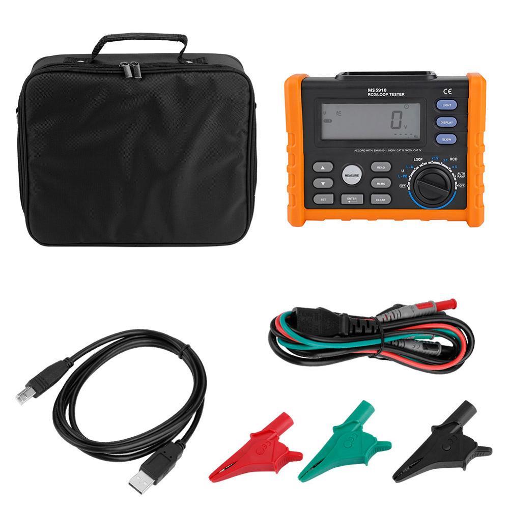 PEAKMETER MS5910 Digital Resistance Meter RCD Loop Resistance Tester Multimeter With Crocodile clips USB Cable