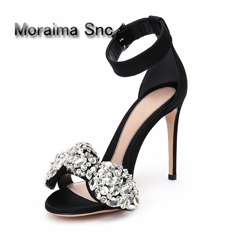 Moraima Snc brand girls sandals Luxury crystal butterfly-knot thin high heels sandals women black Rhinestone shoes women 2018 moraima snc gladiator shoes black peep toe women wedges shoes color crystal butterfly knot platform high heels sandals women