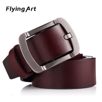 Flying Art Luxury Men Belt Pin Buckle 100 Genuine Leather Belt For Men Vintage Male For