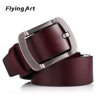 Flying Art Luxury Men Belt Pin Buckle 100 Genuine Leather Belt For Men Vintage Male For