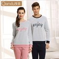 Fashion Autumn/Winter Couple Pajamas Indoor Clothing Home Suit Men/Women stripe Long sleeve Trousers Sleepwear