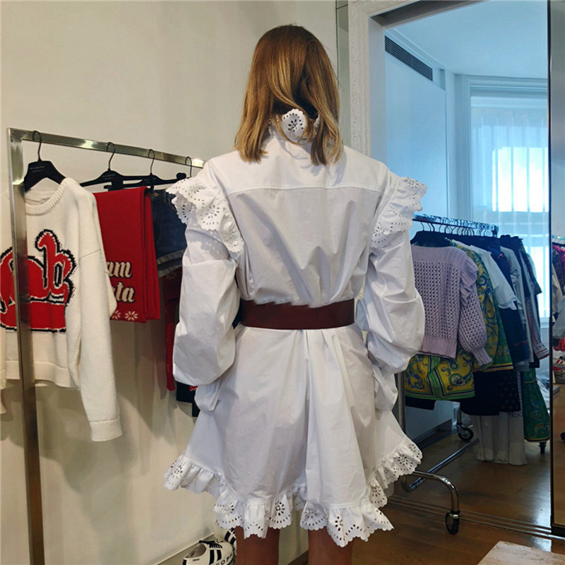 2019 Ruches De Manches Creux Designer Femme Vintage Robe Longues Robes Mode Printemps Out Femmes odxBeCr