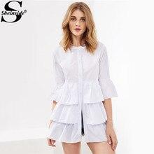 Sheinside элегантный Многоуровневое оборкой белая рубашка на пуговицах Блузка 2017 женские летние топы с круглым вырезом Повседневная рюшами Длинные Осенняя блузка