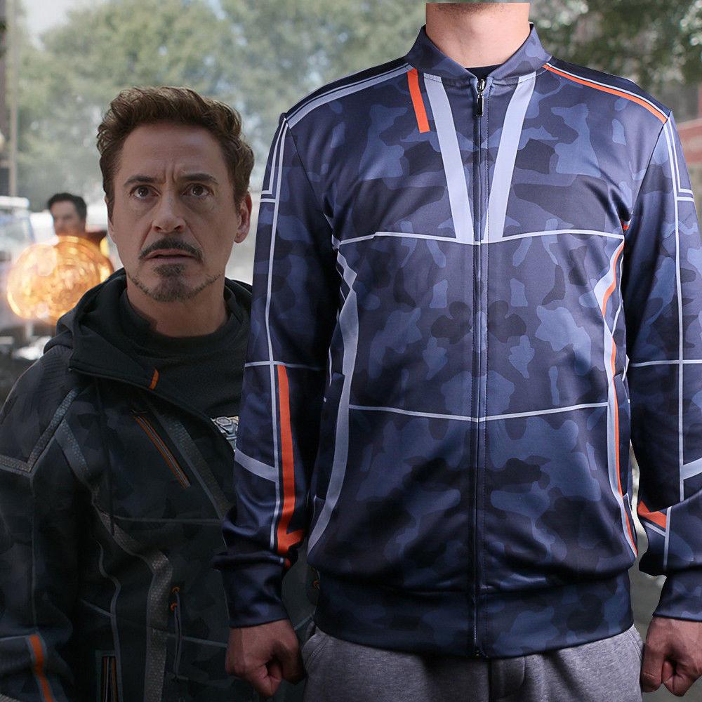 New Movie 2018 Avengers Infinity War Costume Cosplay Tony Stark Coat Hoodie Men's Jacket Baseball Costumes Halloween Party
