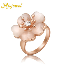 Size 7-9 Luxury Rose Gold Plated Opal Flower Rings 2014 New Arrival