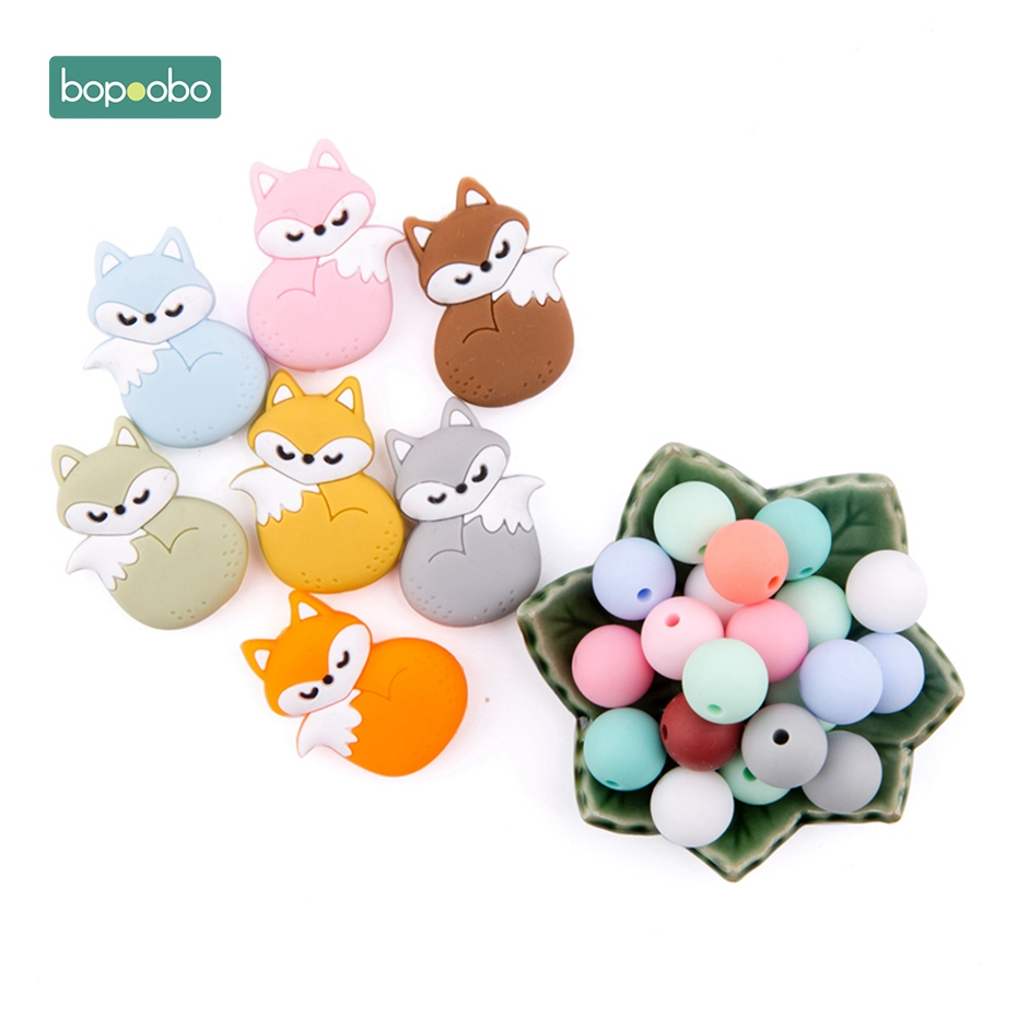 Bopoobo 3pc Silicone Mini Fox Silicone Beads Food Grade Silicone Teether BPA Free DIY Teething Necklace Jewelry Baby Teether