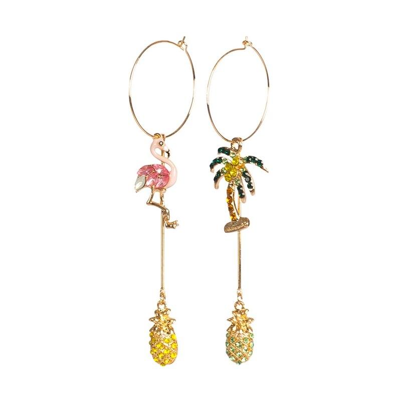 Irregular para Mulheres Brincos para a Menina Brincos Strass Criativo Decoração Pendientes Flamingo Bonito Queda Assimétrica 0323 1 Par