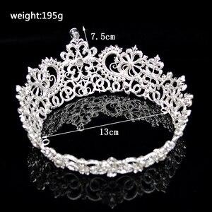 Image 3 - 新ヴィンテージシルバー色ラウンド大クラウンティアラ結婚式のヘアアクセサリーヘッドビッグクラウンかぶと髪の宝石の装飾品