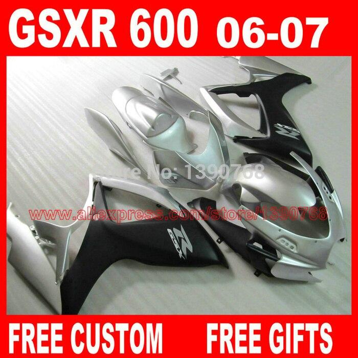 fairings set for 2006 2007 SUZUKI K6 K7 gsxr600 gsxr750 matte black silver fairing kit GSXR 600 06 GSXR 750 07 CB44 fairings set for 2006 2007 suzuki gsxr600 gsxr750 06 07 purple black fairing kit gsxr600 gsxr750 k6 vf71
