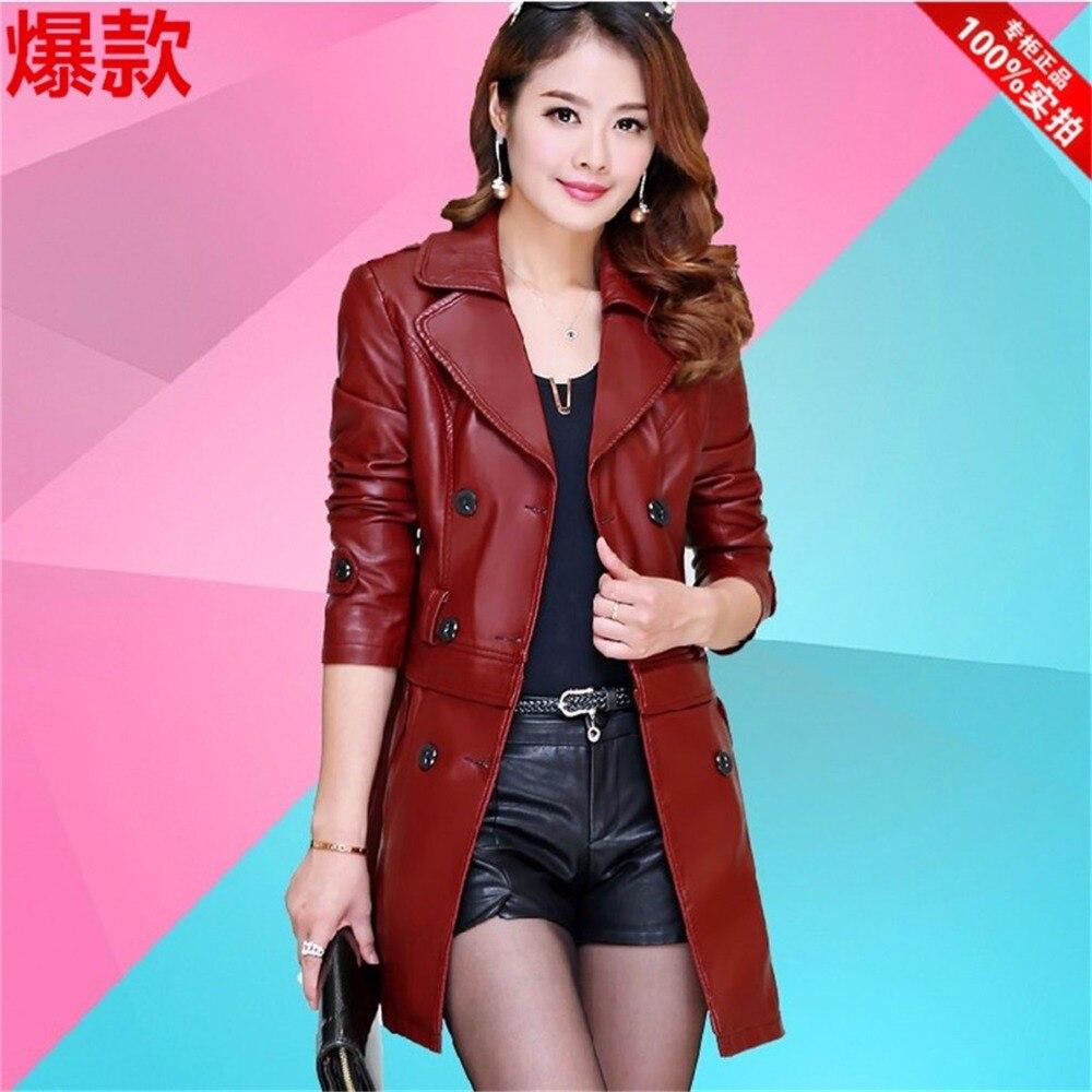 Весна корейской версии Новинка длинный участок г-жа Тонкий овец кожаная куртка большой ярдов кожные низ Съемная куртка