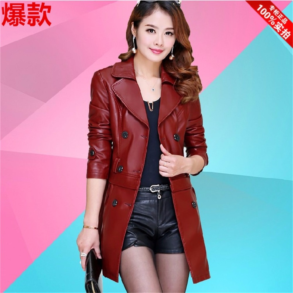 Spring Korean version of the new long section of Ms. Slim sheep   leather   coat big yards dermal hem Detachable Jacket
