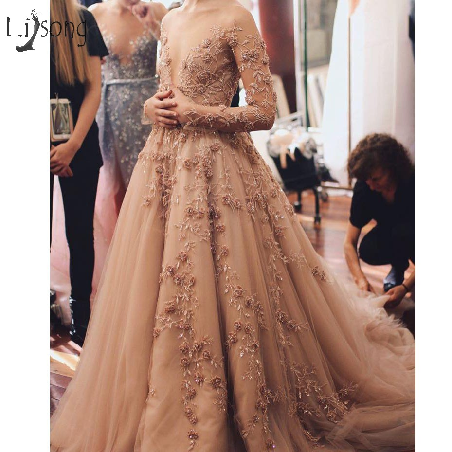 Modest Champagne Floral Lace Evening Dresses 2018 Full Sleeves Deep ...