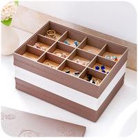 Continental Relief Jewelry Storage Box 12 Grid Jewelry Box Thick Removable Storage Consolidation Jewelry Box