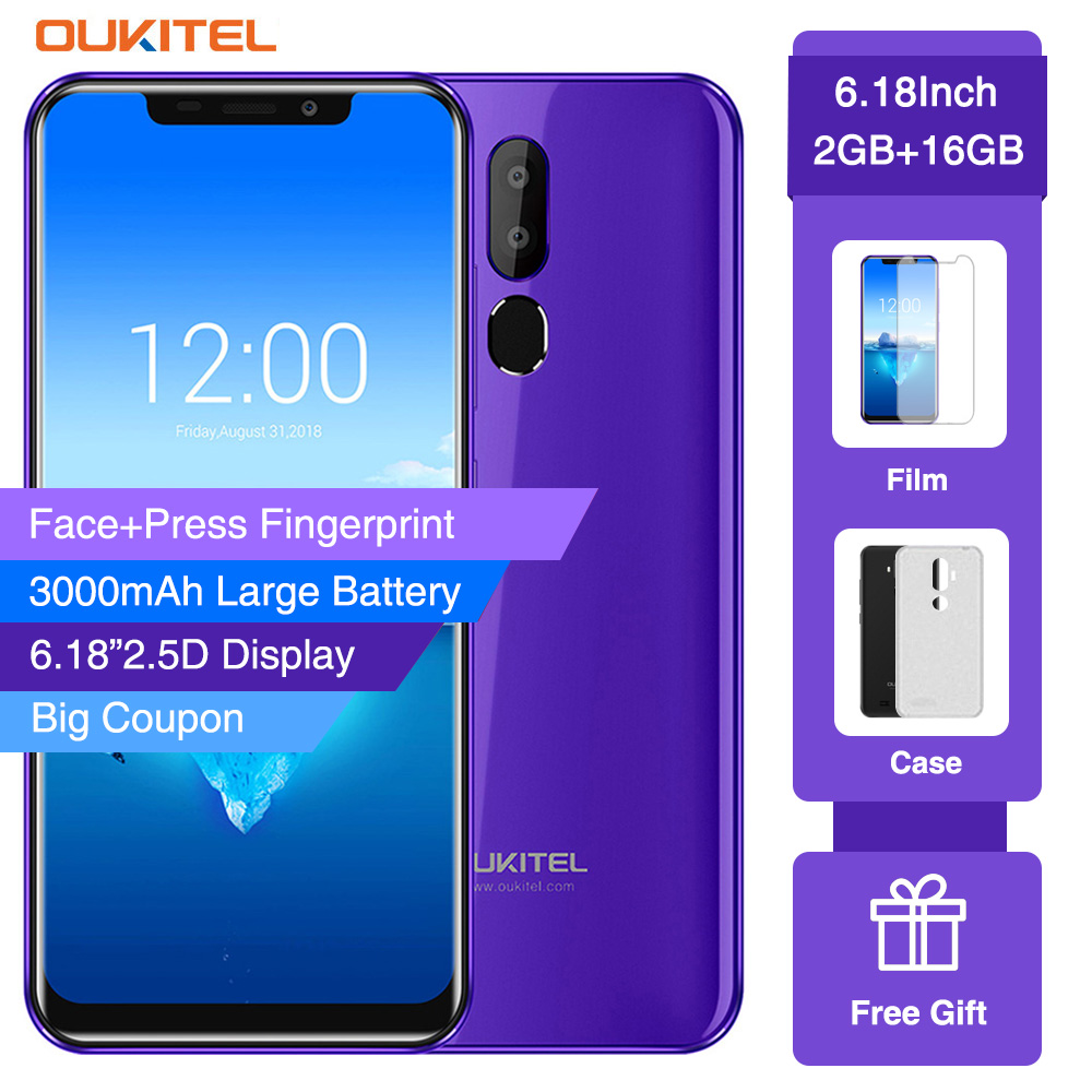 OUKITEL C12 MT6580 Quad Core Smartphone Face ID 6.18 19:9 8MP+2MP 2GB RAM 16GB ROM Android 8.1 3300mAh Fingerprint Mobile PhoneOUKITEL C12 MT6580 Quad Core Smartphone Face ID 6.18 19:9 8MP+2MP 2GB RAM 16GB ROM Android 8.1 3300mAh Fingerprint Mobile Phone