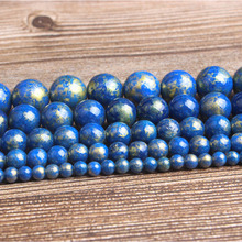LanLi fashion natural Jewelry blue gold colored stone Loose beads DIY woman bracelet necklace ear stud accessories