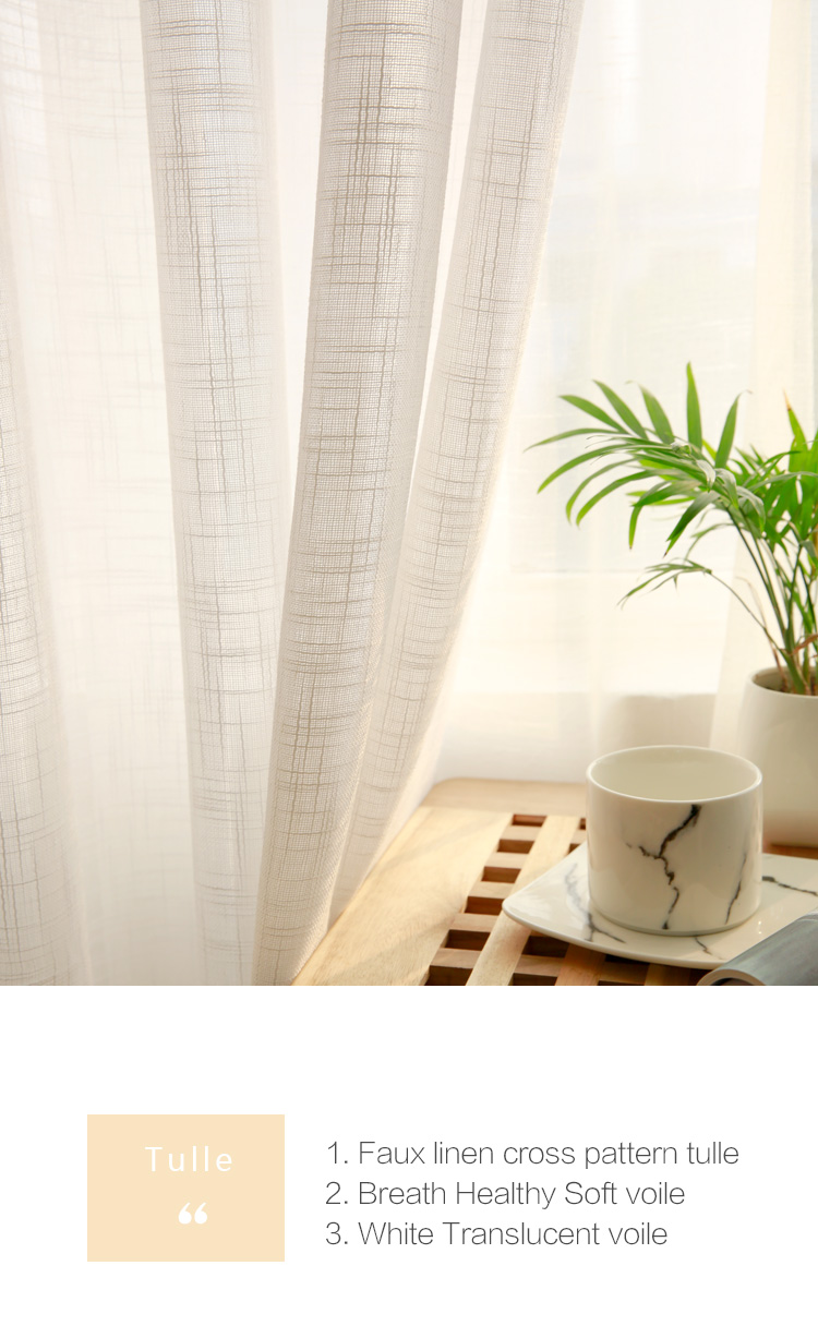 CITYINCITY Tulle  American Curtains for Living room Soft White Voile  solid Rural Tulle Curtain for bedroom ready made curtain01