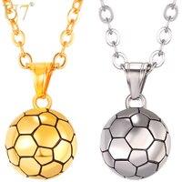 U7 Stainless Steel Football Pattern Link Chain Pendant Necklace For Men Women Sport Boy Soccer Fan