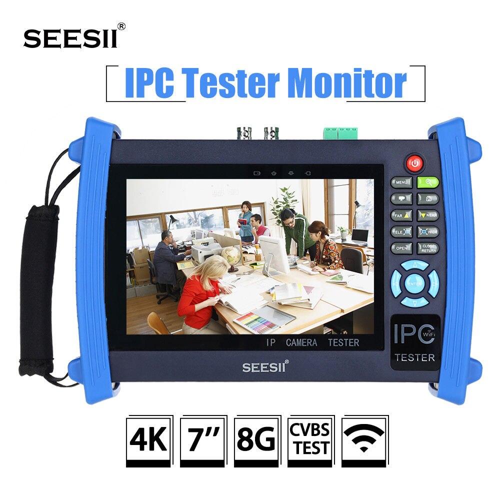 SEESII 8600PLUS 4K 7 LCD 1920*1200 IPC CCTV Camera Monitor Tester CVBS Analog Test Touch Screen IP HDMl 8G WIFI H.265 Control seesii 3 5 touch screen 4k 480x320 wifi cctv ip camera tester monitor analog cvbs onvif h 265 test ptz bnc ntsc control audio