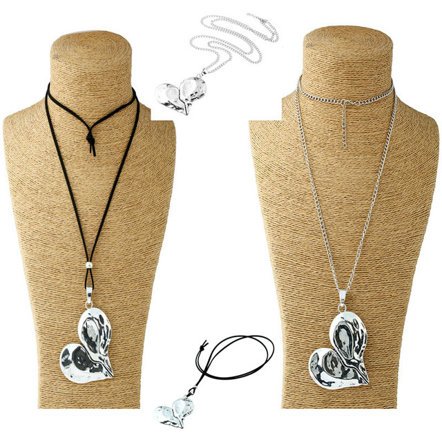1 Pcs Lagenlook Necklace Antique sliver Tone Statement Abstract Metal Large Heart Pendant Long Curb Leather/Link Chain Necklaces