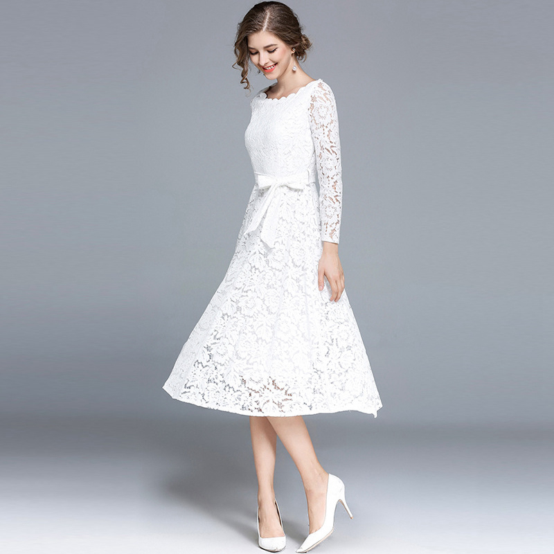 4f0739ca2f166 White black long sleeve scoop neck midi crochet lace dresses for women  ladies tied high waist A line tea length formal dresses-in Dresses from  Women's ...