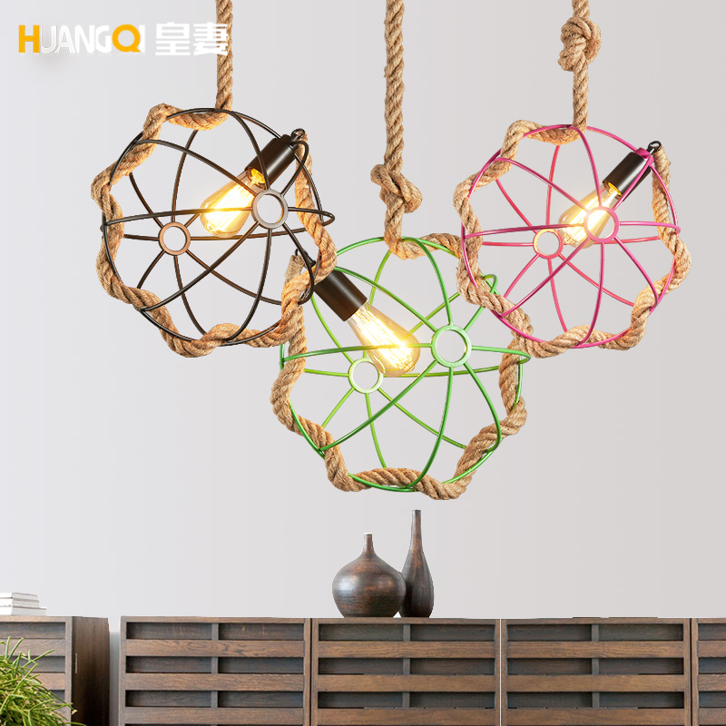 The wife of American country Pendant Lights retro creative living rope hanging lamp industry garden restaurant LU628 ZL80 the hanging garden