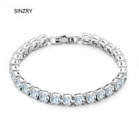 Wholesale Jewelry AAA Swiss Cubic Zircon New Moon Exquisite Bracelet For Women White Gold Plated Free