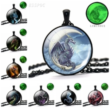 Wings of Dragon on The Moon Glass Cabochon Black Chain Necklace Luminous Jewelry Gifts Glow In Dark