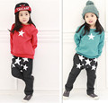 New arrive Spring baby boys clothes set star hoodie + haren pants clothes suit 2 colors girls sports suit Retail