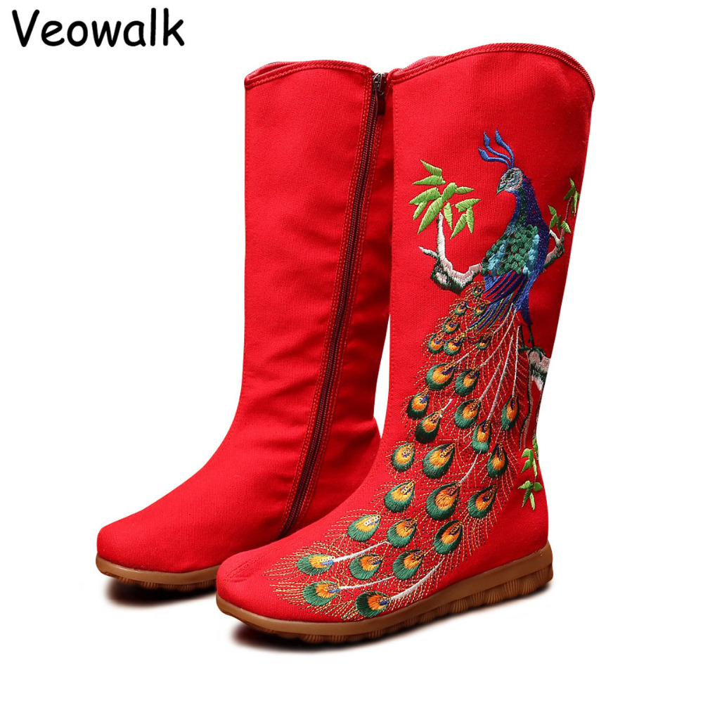 Veowalk Autumn Old Beijing Peacock Sequins Cotton Embroidered Woman Casual Mid Boots Ladies Platform Canvas Shoes Botas Mujer veowalk winter warm fur women short ankle boots cotton embroidered ladies casual canvas 5cm heels wedge platform booties shoes