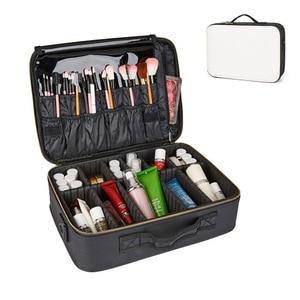 Image 3 - Professional Make Up Case Large Capacity Storage Handbag Travel Insert Toiletry Makeup bag Leather Clapboard Cosmetic Bag