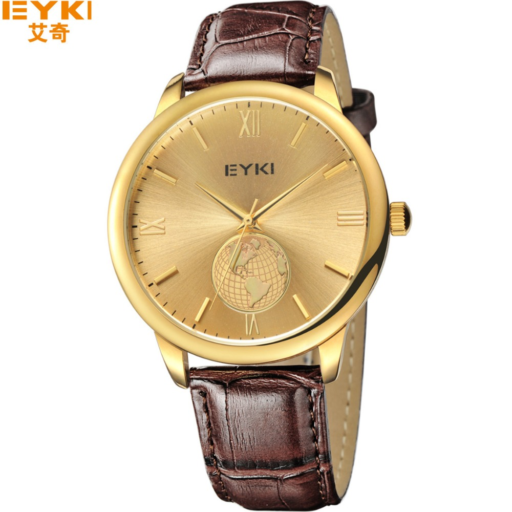2016 EYKI Brand Business watch Lovers New Fashion Leather Quartz Gold Mens Watches Casual Women Water