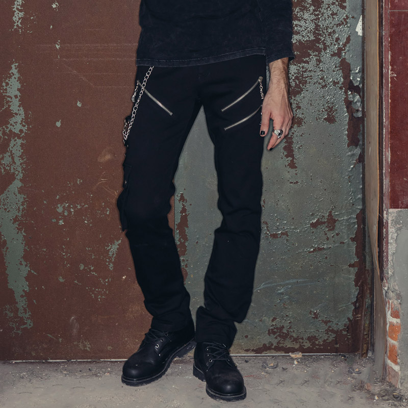Devil Fashion Punk Rock Black Men's Straight Long Pants Spring Summer Casual Trousers With Chain Zipper