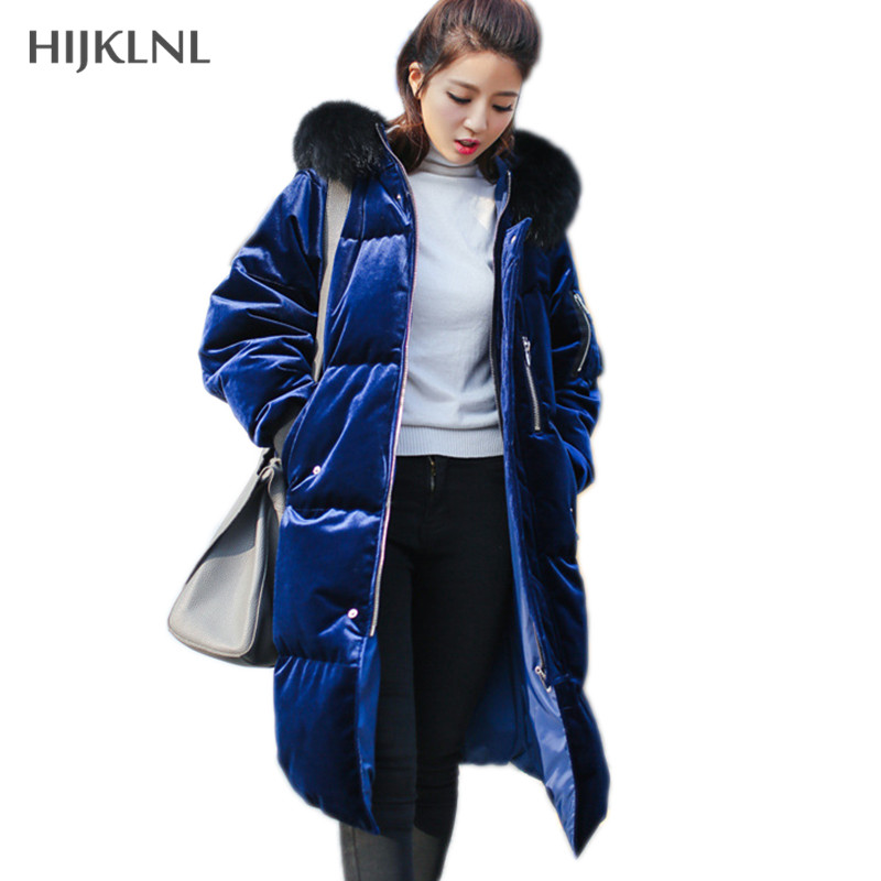 HIJKLNL Gold Velvet   Down     Coat   Parkas 2019 New Women Winter Jacket Thick Raccoon Fur Collar Hooded Duck   Down     Coats   Female LH1070