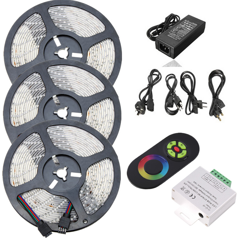 SMD 2835 Waterproof RGB LED Rope Light DC 12V Low Voltage LED Strip Lighting 5m 10m 15m Kit With IR Music LED Controller&Power good group diy kit led display include p8 smd3in1 30pcs led modules 1 pcs rgb led controller 4 pcs led power supply