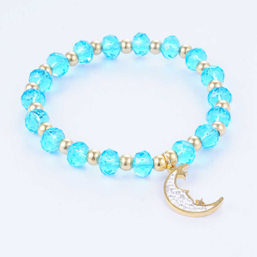 Yunkingdom New 2019 Stainless Steel Jewelry Adjustable Moon Bracelet & Bangles Crystal Bracelets for Women Gold-Color 7 color