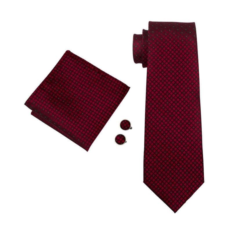 LS-704 الرجال التعادل 100% الحرير الأحمر منقوشة الجاكار المنسوجة الزفاف التعادل باري. وانغ Hanky أزرار أكمام مجموعة رابطة عنق للرجال الأعمال