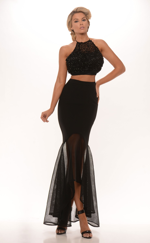 black latest prom dress halter two piece robe de bal. Black Bedroom Furniture Sets. Home Design Ideas