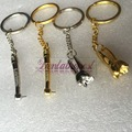 4Pcs Dentist Christmas Gift Dental Handpiece and Molar Shaped Silver and Golden Key Ring Mobile Chain