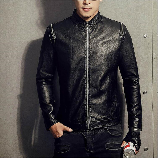 Aliexpress.com : Buy Winter Leather Jackets Men Black Biker ...