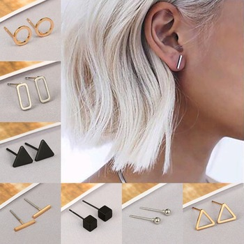 Fashion gold silver Colour black punk simple T bar Earrings for women square Earrings Fine jewelry.jpg 350x350 - Fashion gold silver Colour black punk simple T bar Earrings for women square Earrings Fine jewelry geometry brincos bijoux