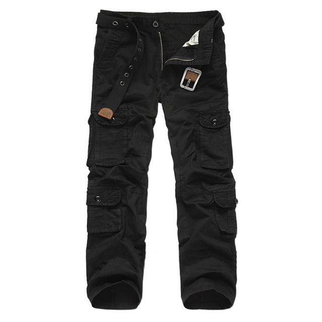 Military Cargo Pants Men Cotton Loose Trousers Casual Cargo Pants Men's Multi Pockets Plus Size 28-38