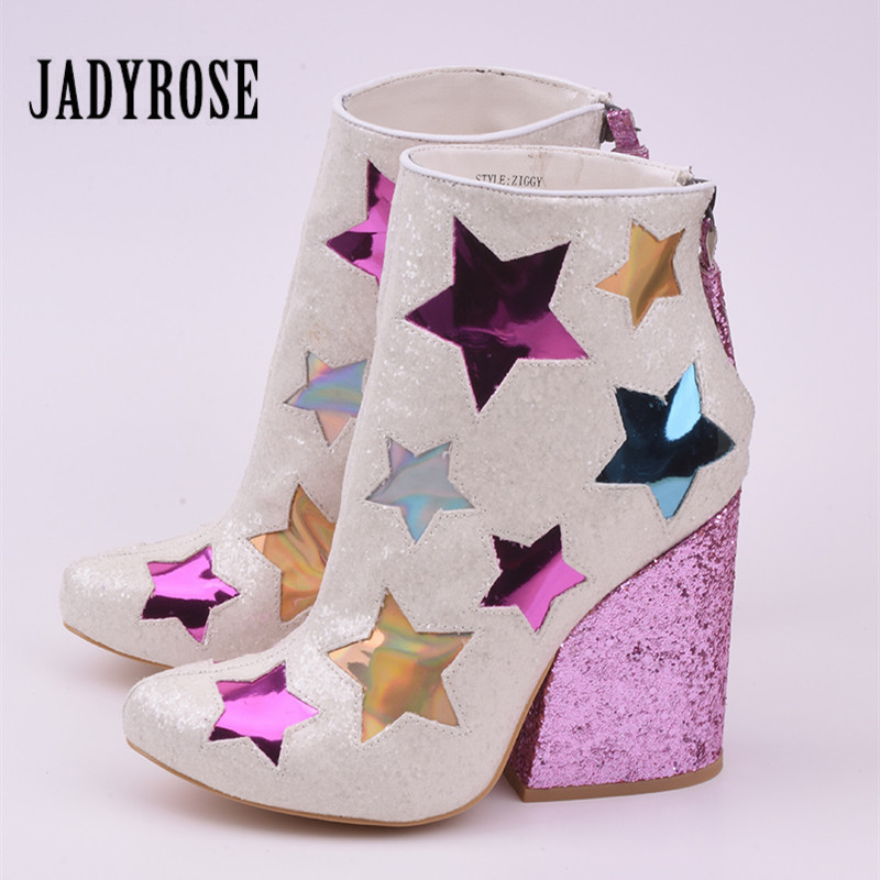 Jady Rose Sequined Glitter Women Ankle Boots Star Embroidery Chunky High Heel Boots Fringed Back Zip Botas Mujer Wedge Shoes botanical embroidery zip back skirt