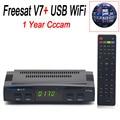 1 Ano Cccam Cline Freesat V7 Receptor de Satélite Full HD 1080 P PowerVu apoio DVB-S2 Biss Key ccam Com 1 PC USB WiFi 3 Clines