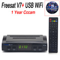 1 Year Cccam Cline Freesat V7 Satellite Receiver HD Full 1080P Support DVB-S2 PowerVu Biss Key ccam With 1PC USB WiFi 3 Clines