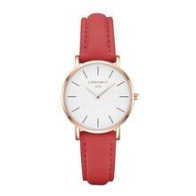 be2b726fe936 CHRONOS mujeres Causal Simple moda reloj de cuarzo rosa de cuero relojes de  oro blanco reloj