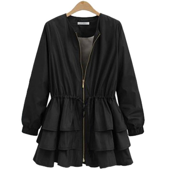 Zipper Casual Ruffles Trench Coat for Women Autumn Style O-neck Loose Slim Trench Solid Outerwear 3