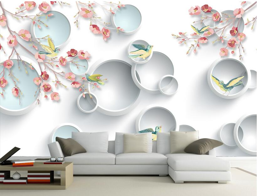 3d room wallpaper custom mural non-woven wall sticker 3 d Color flowers and birds circle painting photo wallpaper for walls 3 d non woven bubble butterfly wallpaper design modern pastoral flock 3d circle wall paper for living room background walls 10m roll